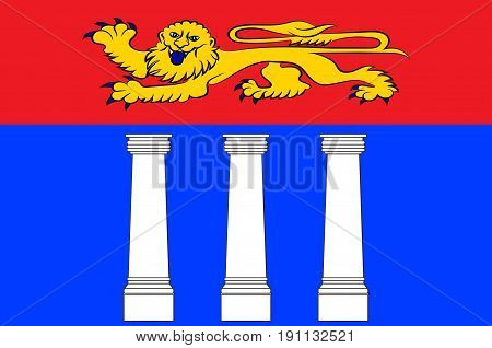 Flag of Coutances is a commune in the Manche department in Normandy in north-western France. Vector illustration