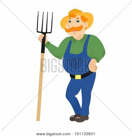 Vector illustration of a cartoon farmer standing with pitchforks. A rural man in a hat, uniform and with a fork. Isolated white background. Flat style.