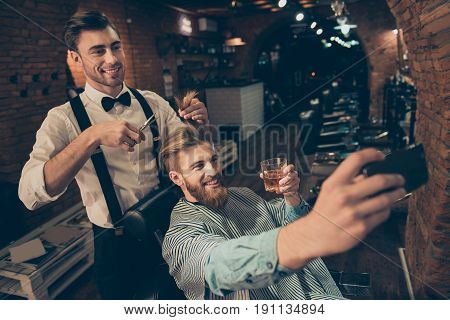 Smile! Cheerful Handsome Stylish Red Bearded Guy Is Taking Selfie Photo  At Barber Shop, Classy Dres
