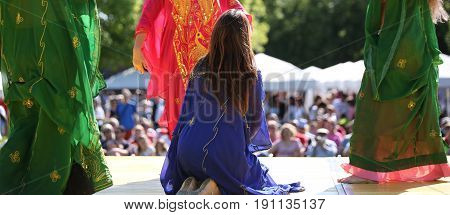 Colorful Skirts Of Dancers During The Performance Of The Belly D