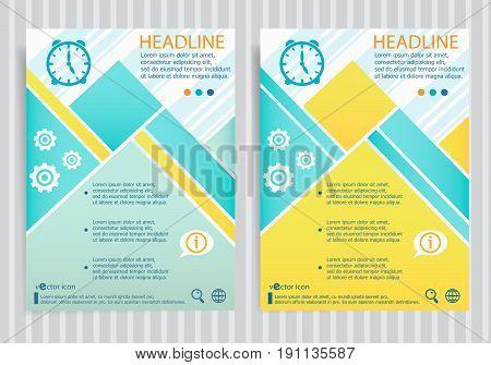 Alarm Clock Symbol On Vector Brochure Flyer Design Layout Template