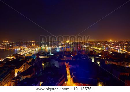 Night lights of Istanbul view from the Galata tower. Retro style