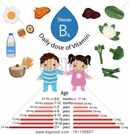 Vitamin B6 or Pyridoxine and vector set of vitamin B6 rich foods. Healthy lifestyle and diet concept. Daily doze of vitamin B6.