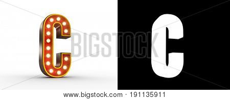 High quality 3D illustration of the letter C in vintage style with light bulbs illuminating it. Alpha Map included for easy isolation.