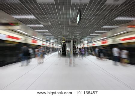 Abstract blurred subway station background in the city