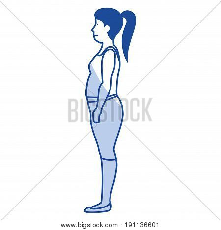 fat woman with sport wear vector illustration design