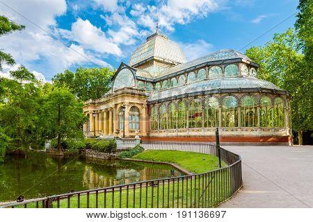 Crystal Palace (Palacio de cristal) in Retiro Park Madrid Spain