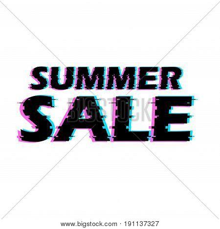 Sign summer sale with distorted glitch effect. Trendy style lettering typeface. Words summer sale in light linear design noise. Digital image data distortion Vector illustration stock vector.