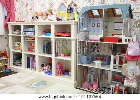 MOSCOW - JAN 20, 2017: Play area with toys in the nursery (with property release) for girls