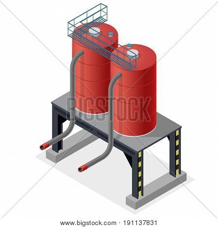 Gasoline cistern, isometric building info graphic. Diesel, fuel supply resources. Gas tank on pillars. Water reservoir. Industrial chemistry pictogram, red details. Flatten isolated master vector icon