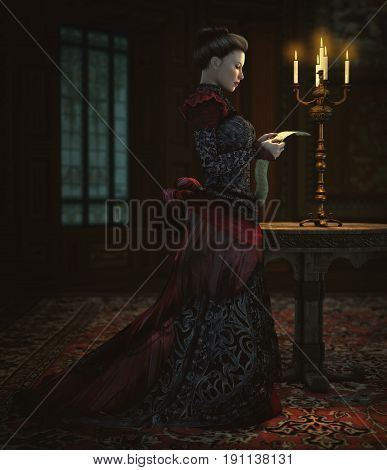 3d computer graphics of a lady in a Victorian dress reads a letter in candle light