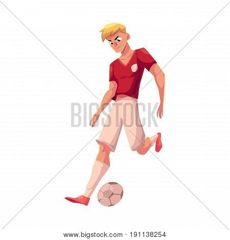 Handsome blond soccer, football player in uniform dribbling a ball, cartoon vector illustration isolated on white background. Professional soccer player dribbling a ball, running, playing football