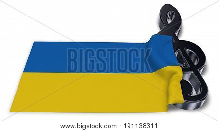 clef symbol and flag of the ukraine - 3d rendering