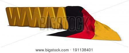 the letters www and german flag -3d rendering