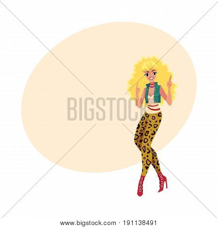 Woman, girl in 1980s style clothes, leopard leggings and high heels, dancing disco, cartoon vector illustration with space for text. Woman in 80s style clothing dancing at retro disco party