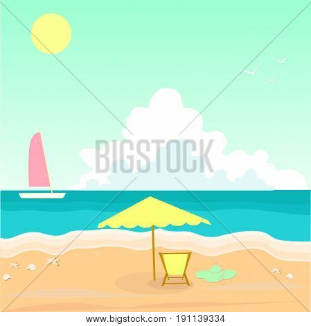 Seascape. Sea shell. White ship crimson sail of turquoise waves. Umbrella recliner turquoise color heat. Vector illustration seascape painting. Summer  hot day. Sun  bright sky among the clouds.