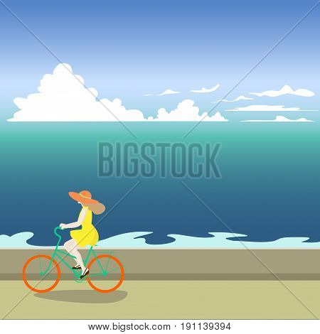 A girl on a bicycle rides along the sea shore. Vector illustration of a sea. Summer sea walk. Cartoon naive drawing. The girl in the hat.