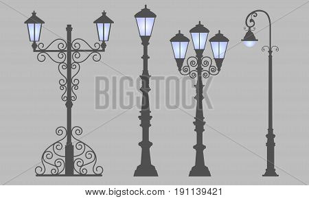 Collection  street lamps, isolated gray background. Figured forged street lights. Vector design classic lamps. Set street decorative forging blue light.