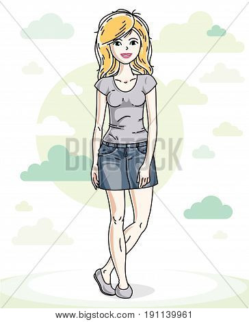Happy young blonde woman posing on background with blue heavens clouds and wearing fashionable casual clothes. Vector attractive female illustration. Lifestyle theme cartoon.