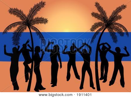 Dancing People At The Beach