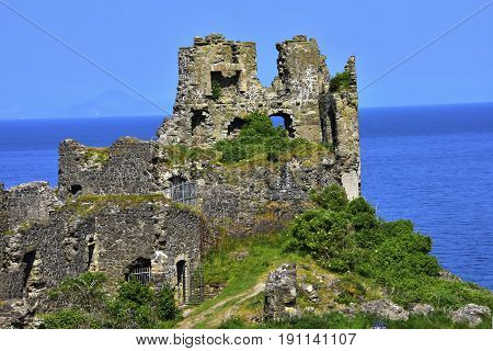 Dunure Castle on the Firth of Clyde in Scotland.