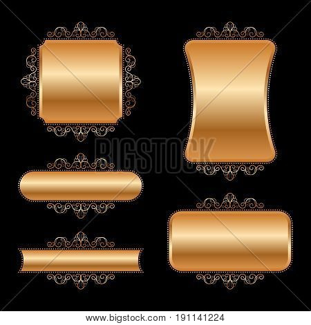 Set of golden vintage frames. Vector Illustration