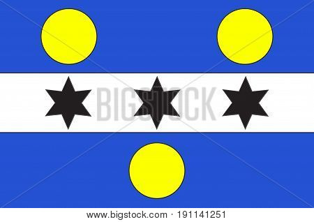 Flag of Cherbourg-Octeville is a city and former commune situated at the northern end of the Cotentin peninsula in the northwestern French department of Manche. Vector illustration