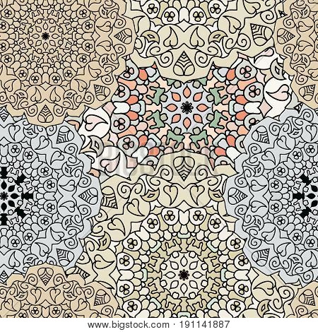 Ethnic floral seamless pattern in pastel colors. Turkish, ottoman, indian, moroccan print. For background, textile or wrapping.