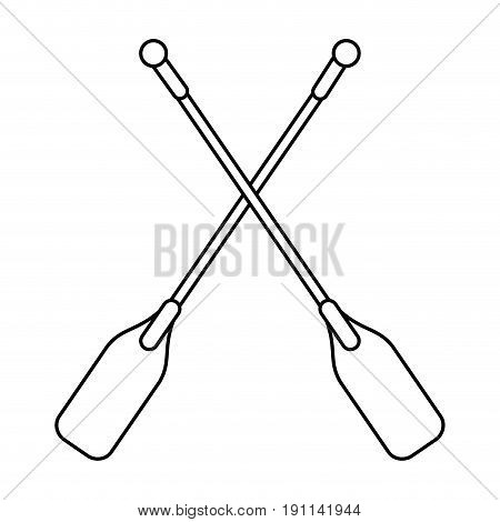 boat oars  icon image vector illustration design  single black line