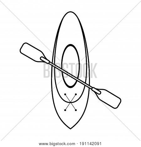 oar and row boat icon image vector illustration design  single black line