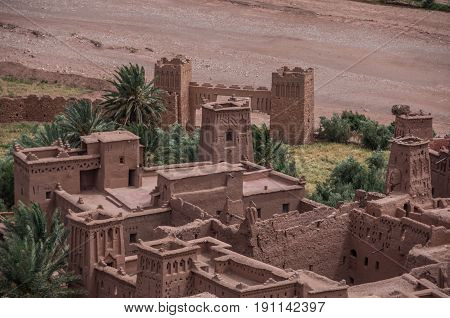 Kasbah Ait Ben Haddou in the Atlas Mountains of Morocco. Medieval fortification city UNESCO World Heritage Site.