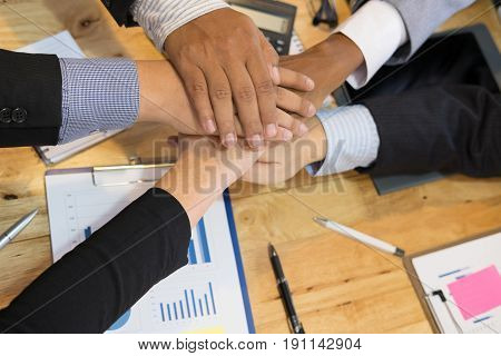 Young Businessman Joining Hand, Team Of Business People Touching Hands Together - Unity, Harmony, Te