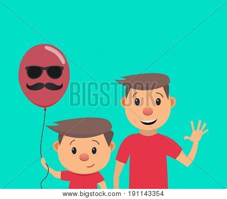 Happy Fathers Day. Fathers Day card. Father and son. Vector illustration in a flat style