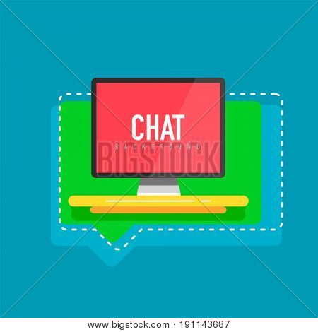 Flat design computer screen with speech bubbles, chat display and communication concept