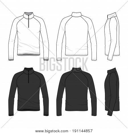 Front, back and side views of raglan sleeved t-shirt with zipper. Clothing set in white and black colors. Blank vector templates. Fashion illustration. Isolated on white background.