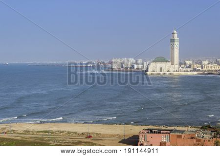 Lighthouse El Hank top panoramic view to Grande Mosquee Hassan II and Casablanca Morocco.