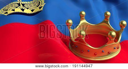 Golden Crown On Liechtenstein Flag.3D Illustration