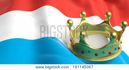 Golden Crown On Luxembourg Flag.3D Illustration