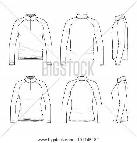 Front, back, side views of raglan sleeved t-shirt with zipper. Male and female clothing set. Blank vector templates. Fashion illustration. Isolated on white background.