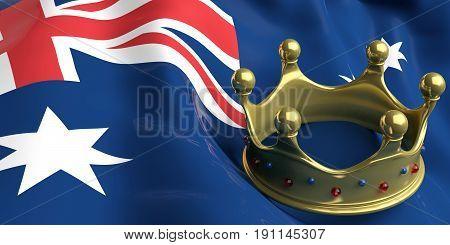 Golden Crown On Australia Flag.3D Illustration
