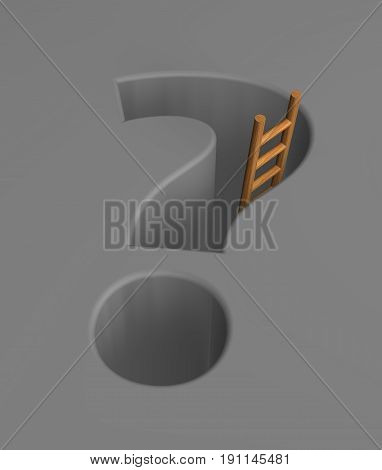 question mark pit and a ladder - 3d illustration