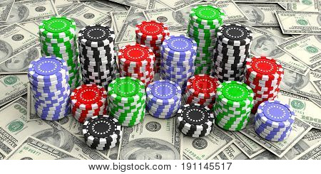 Casino Chips On Dollars Background. 3D Illustration