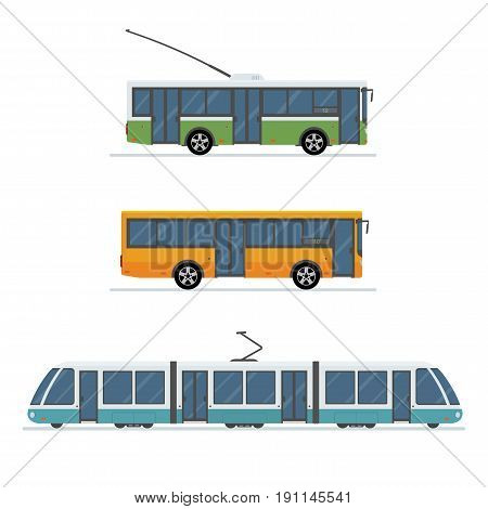 Flat style concept of public transport. Set of city trolley bus, bus and tram isolated on white background. Vector illustration.