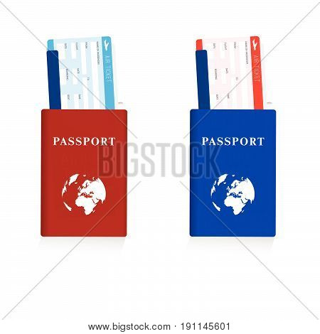 Passport In Red And Blue Color With Air Ticket Set Illustration
