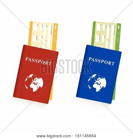 Passport With Air Ticket Set Illustration