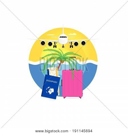 Travel Symbol With Pink Suitcase And Passport Illustration