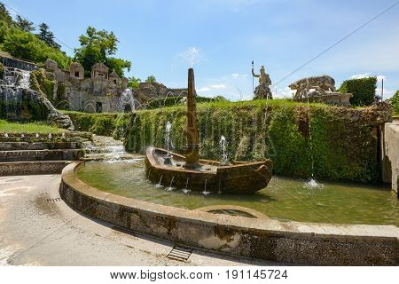 Wonderful landscape in Tivoli Italy with a nice blue sky and fountains