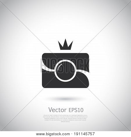 Camera Icon with crown in trendy flat style isolated on grey background. Camera symbol for your web site design, logo, app, UI. Vector illustration, EPS10.