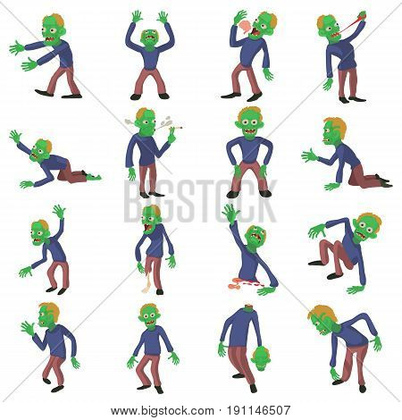 Zombie poses icons set. Cartoon illustration of 16 zombie poses vector icons for web