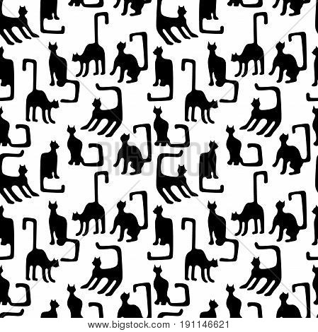 Seamless vector border with geometrical kittens inspired by ancient Egyptian art. Ethnic textile collection.